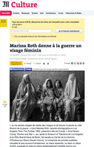 Le Monde: Marissa Roth gives war a female face